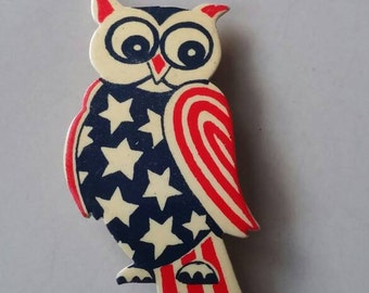 Vintage owl brooch American Patriot stars and stripes