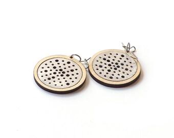 Elegant silver wooden earrings - model 8.2
