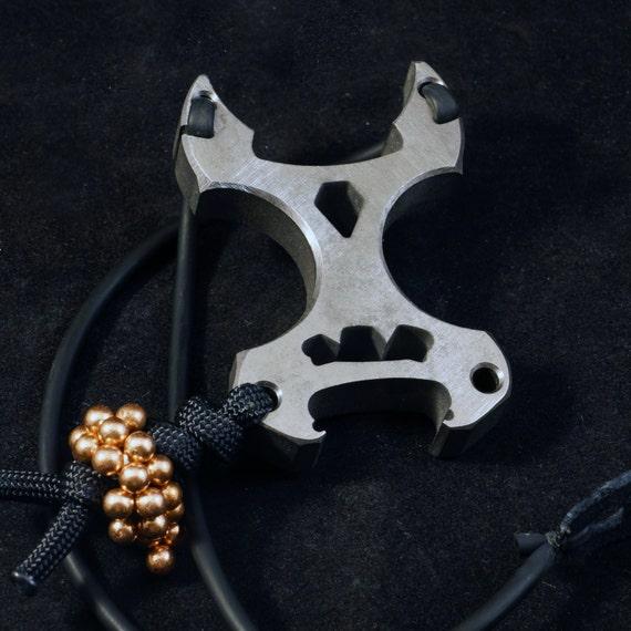 TITANIUM 'Horny Monster' Slingshot, Bottle Opener, Keychain, Hex Key Wrench