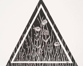triangle meadow art print - a5