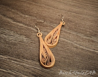 Pair of birch bark earrings. Wooden earrings with quilling.