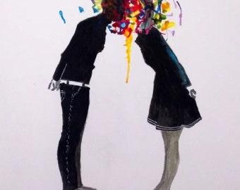 watercolour kiss Black and white banksy style