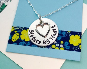 Sisters by Heart Necklace, Best Friend Necklace , Not by blood, Sisters by Heart, Best Friend Gift