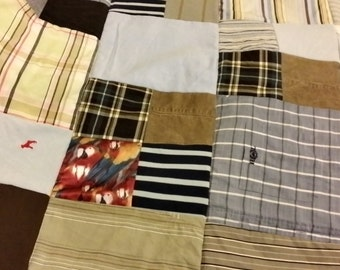 Memory Quilt/ Patchwork Blanket - Made from Loved Clothes - Double Bed - 180cm x 200cm
