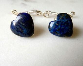 Lapis cufflinks - blue - Valentines Day gift for him - heart cufflinks - gemstone cufflinks - carved heart jewelry - sterling silver - UK
