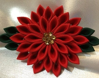 Red And Dark Green Kanzashi Style French Barrette