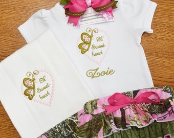 Baby camo outfit personalized baby gift bringing home baby pink camo baby gift personalized baby gifts bringing home baby take home outfit negle Image collections