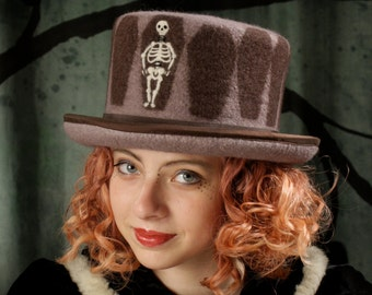 Top Hat With Skeleton - Coffin Top Hat - Top Hat With Coffins and Skeleton - RIP Top Hat - Brown Top Hat