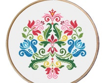 flowers cross stitch pattern, floral ornament, floral stitch, floral pattern counted cross stitch, cross stitch baby, Instant download