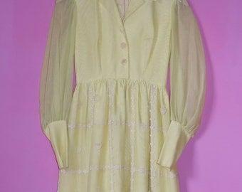 Vintage 1960s-70s Dreamy Boho/Hippie Yellow Dress - Sz XS-S