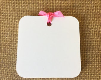 "White Square Tags - (2.5"" Wide) Favor Tags - All Purpose Blank Gift Tags"