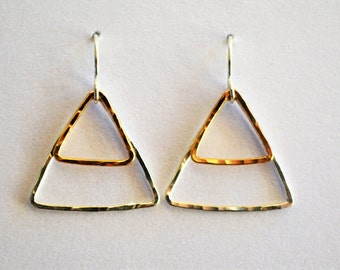 Hammered Double Triangle Earrings- Gold and Silver