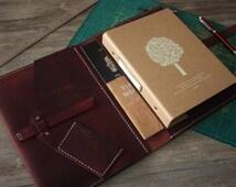 iPad Case, Hand Stitched Leather iPad Air Portfolio, Leuchtturm1917 / Moleskine Notebook Covers, Premium Red Wine Leather, 3 color Thread