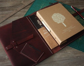 iPad Case, Hand Stitched Leather iPad Air Portfolio, Leuchtturm1917 / Moleskine Notebook Covers, Premium Red Wine Leather, 3 color Thread