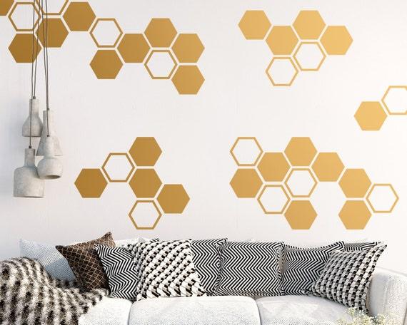 Large Honeycomb Wall Decals Hexagon Vinyl Decals Geometric