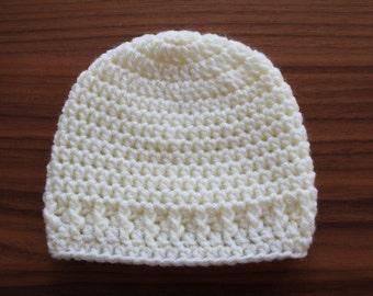 Beige crochet baby hat, infant baby hat, crochet hat, newborn hat, photo prop, ready to ship