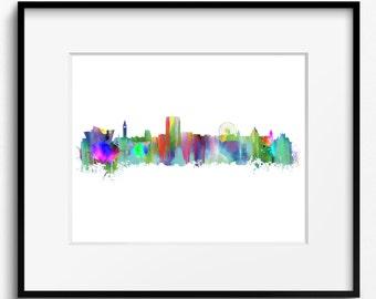 Belfast Skyline Watercolor Art Print (355) Cityscape Northern Ireland United Kingdom