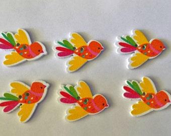 6  Wooden Colourful Bird Buttons # SB- 00250