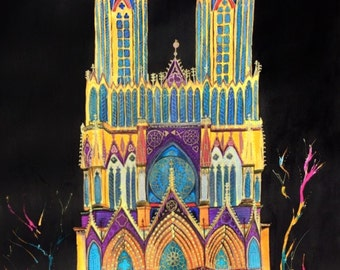 Reims cathedral, watercolor painting, art, 55x55cm
