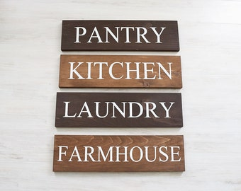 Farmhouse Sign Set - Pantry Sign - Kitchen Sign - Laundry Sign - Farmhouse Sign - Farmhouse Decor- Rustic Signs for Home -House Warming Gift
