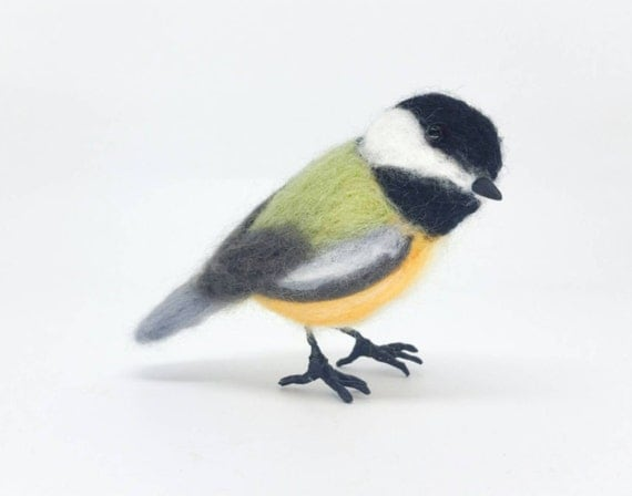 Chickadee, needle felted bird sculpture, felted chickadee, wool bird, needle felt bird, small bird, tiny bird sculpture, song bird