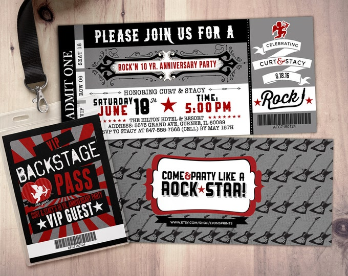 Anniversary Party Invite, ticket bridal shower invitation, rockstar bachelor, save the date, wedding invitation, engagement, rockstar