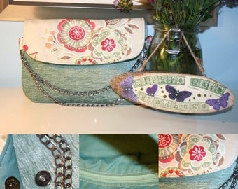 Teal and Floral Clutch