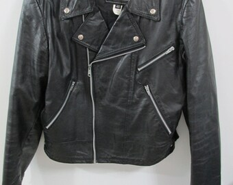 Vintage Motorcycle Jacket Black Leather Size 40 Bike