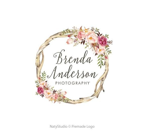 Wreath Flower Logo Premade Logo Design Floral Logo Rustic Logo