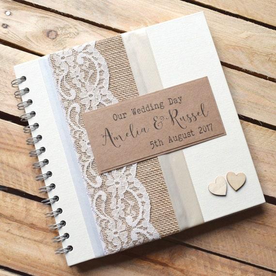 Burlap Rustic Wedding Scrapbook With Wooden By