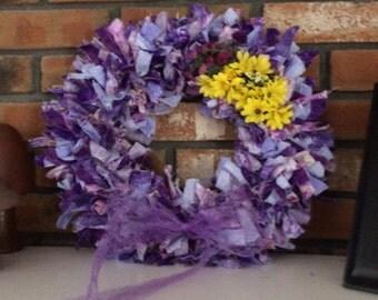 Purple Rag Wreath