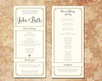 Elegant Printed Wedding Programs Gold and Ivory