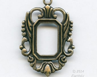 Oxidized brass 25x20mm openback 10x15mm flat prong setting with 1 ring.  1 pc. b9-2300(e)