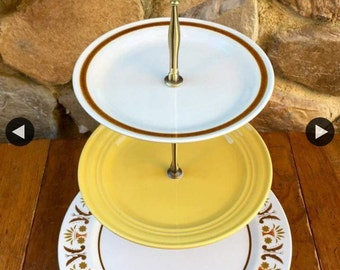 Beautiful Fall 2 tier brown and mustard cake stand