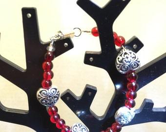 Silver Puff Heart with Czech Glass Beads
