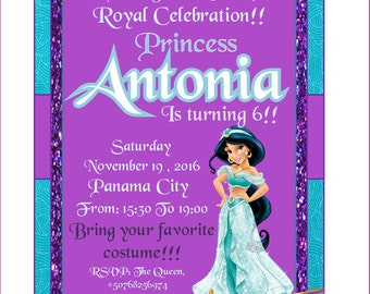 PRINCESS JAZMIN!!! Party Invitation!!!Perfecto for your Birthday Princess!!! New!