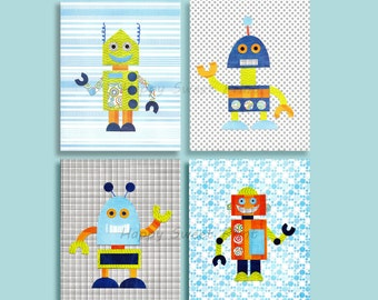 Set Of Four Nursery Robots Art, Baby Boy Wall Decor, Robot Print, Colorful