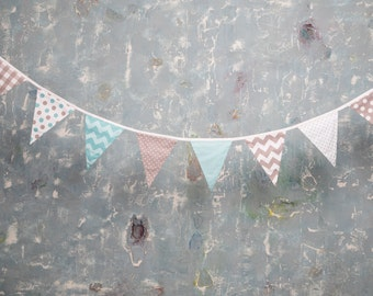 8 Cotton Flag Garland bunting. Festive decor of the house. Party garland. Children's room decor. Colored garland flags