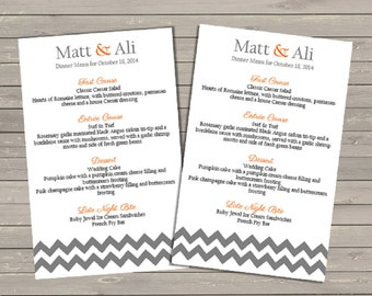 Chevron Wedding Reception Dinner Menu - Printable File