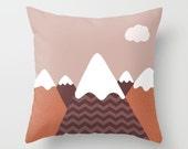 Mountains Pillow Personalized Nature - 16x16 18x18 20x20 - Snowy Forest Cute Gift Women Kids Nursery Birthday Alpine Throw Woodland Golden