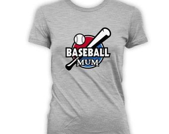 Baseball Mom Shirt - Sports Mom Clothing, Custom Baseball Shirt, Womens Customised shirt, Baseball Tee, Grey Tball Mom TShirt CT-179