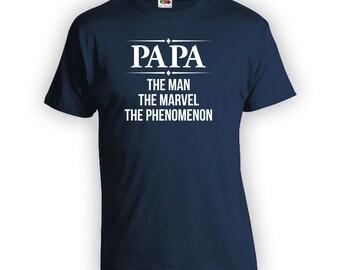 PAPA - The Man The Marvel The Phenomenon - Shirt Step Dad Step Father Mens Clothes Birthday Shirt TShirts Shirts New Dad CT-394
