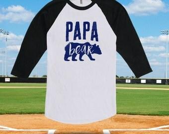 Papa Bear Shirt for Dad - Raglan Baseball Shirt, Dad Shirt Step-Dad Step-Father Mens Clothes Birthday Shirt TShirts Shirts New Dad CT-496