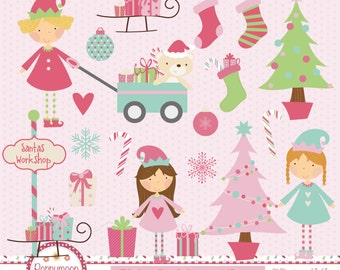 Pink christmas elves, printable digital clipart set