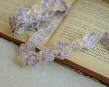 10 Yards Purple Lace Trim Polyester Ribbon Daisy Flower Lace Trim Piping 1 Inch Wide
