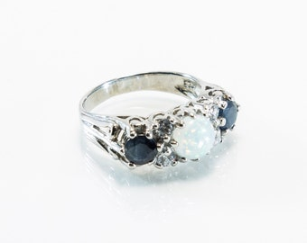 Lab-Created Opal And Gemstone Ring