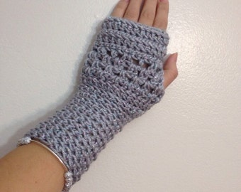 Fingerless gloves, wrist warmers, Crocheted gloves, metallic gloves