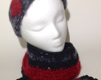 3 Set Hairy-Fur Girls Ruby Headband, Infinity Scarf & Boot Cuffs with small beads