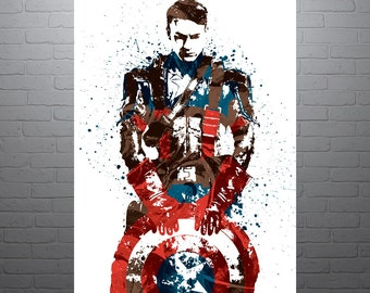 Civil War Captain America Movie Poster, Art Print, Kids Decor, Watercolor Contemporary Abstract Drawing Print, Man Cave