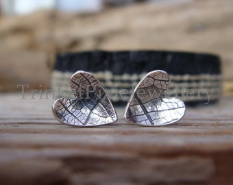 Sterling Silver Leaf Texture Stud Earrings